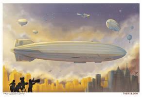 The Golden City - Airships by PaulRomanMartinez