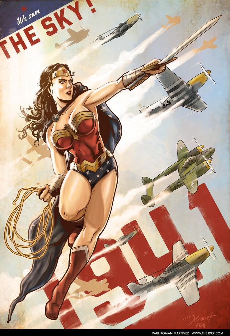 Tournoi des Personnages Préférés DC Comics (on vote pour nos persos préférés, on ne se base pas sur la force) - Page 5 Wonder_woman_1941___we_own_the_sky__by_paulromanmartinez-d7em13s
