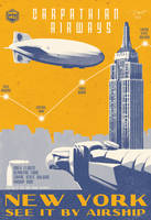 Vintage Art Deco Airship Travel Aviation Poster by PaulRomanMartinez