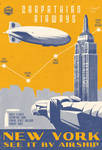Vintage Art Deco Airship Travel Aviation Poster