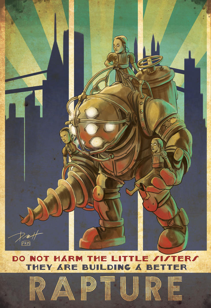 Bioshock Big Daddy and Little Sisters by PaulRomanMartinez