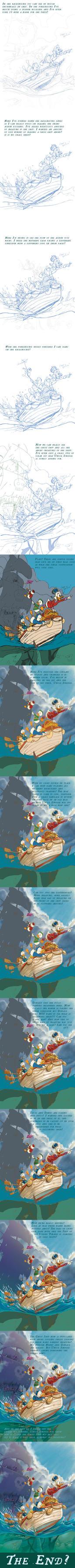 Ducktales Clear Sailin' Digital Painting Progress by PaulRomanMartinez