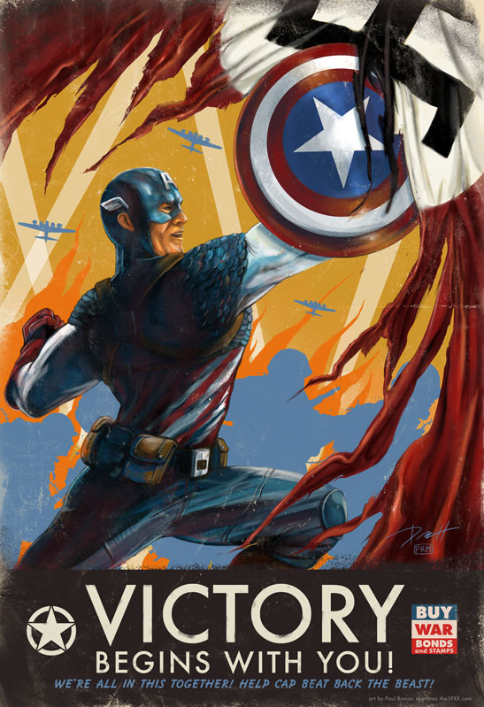 Captain America Propaganda Poster by PaulRomanMartinez