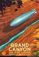 Airship Travel Art Grand Canyon by PaulRomanMartinez