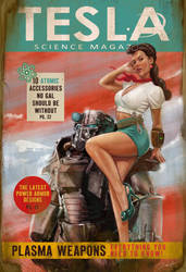 Tesla Science Magazine Cover Fallout 4 by PaulRomanMartinez