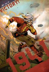 1941 Flash Running Behind Enemy Lines World War II by PaulRomanMartinez