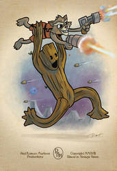 Toon Groot and Rocket by PaulRomanMartinez