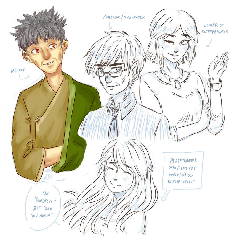 Kanto kids as geezers (+Yellow) by Aeveternal