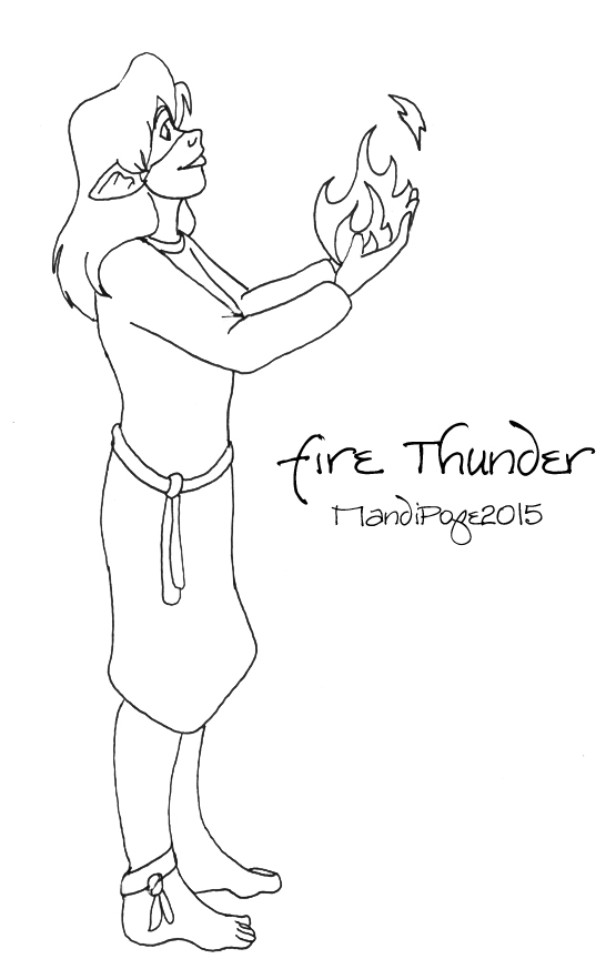 Just Fire Thunder Lineart by MandiPope