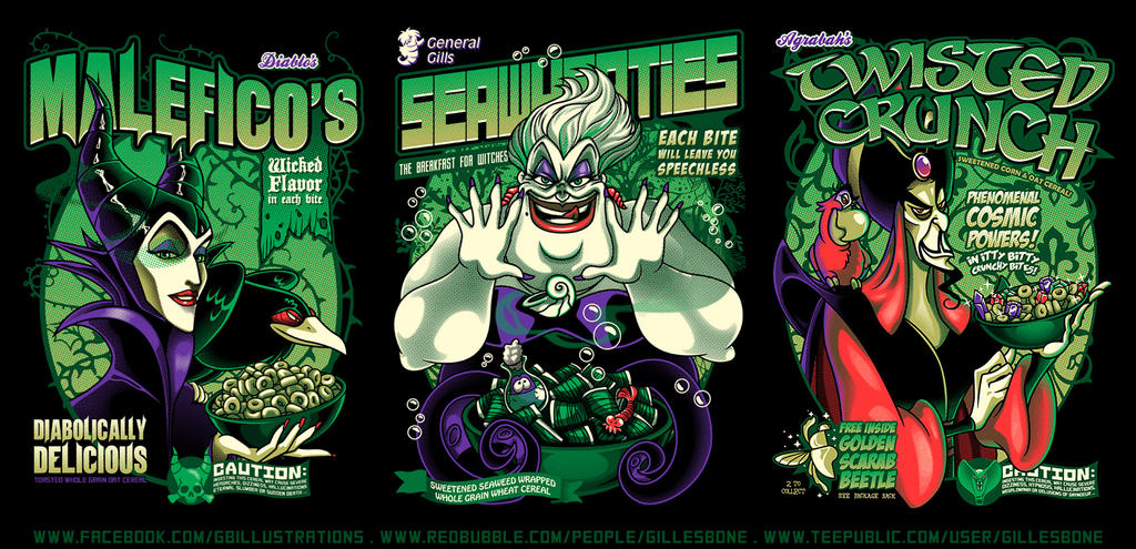 .Disney Villain Cereal Collection. - Part 1 by GBIllustrations