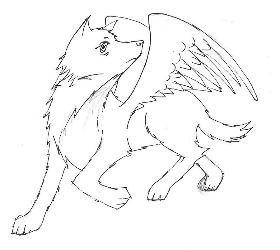 baby winged wolf coloring pages - photo#27