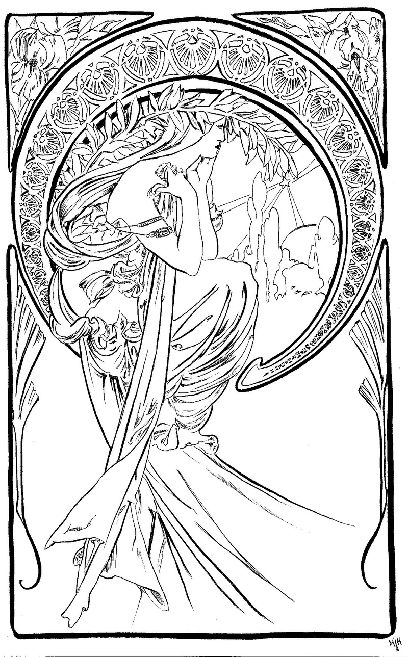 Alphonse mucha free coloring pages for Art deco coloring pages for adults