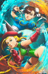 Chun Li and Cammy by BurntGreenTea