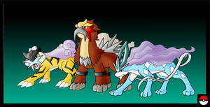 Raikou, Entei and Suicune by ZappaZee