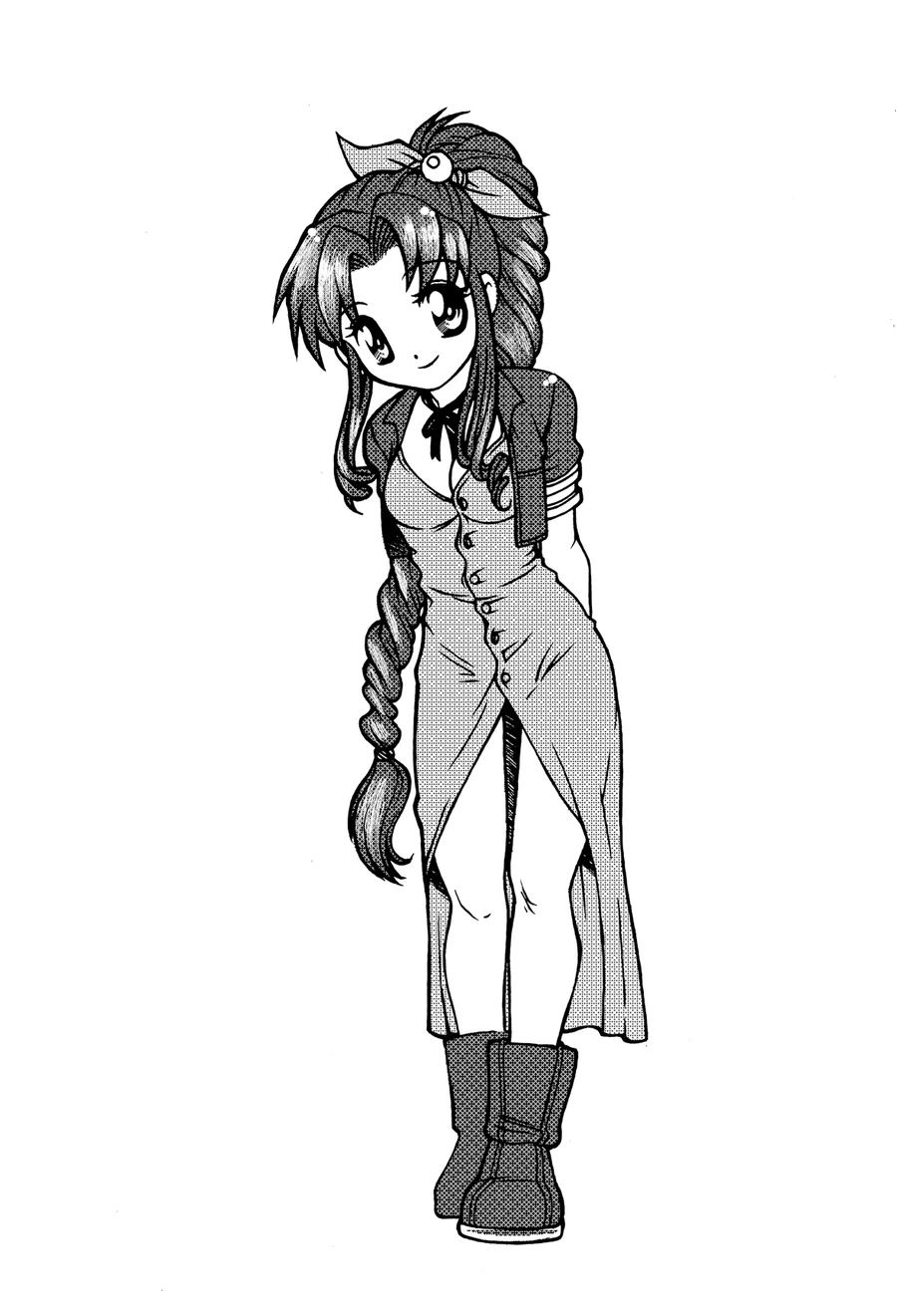 Aeris B and W by RosaKiddy