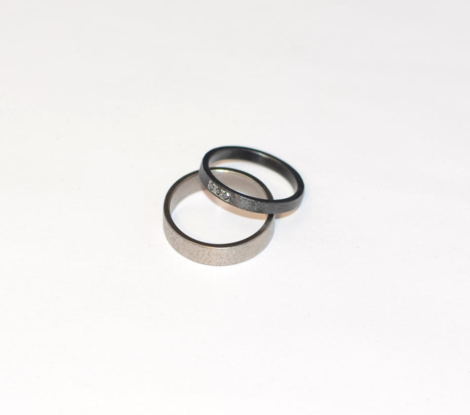 Titanium/zirconium engagement rings by timjo