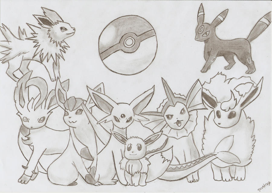 Eevee Evolution Chart Coloring Pages Pokemon All Eevee Evolutions