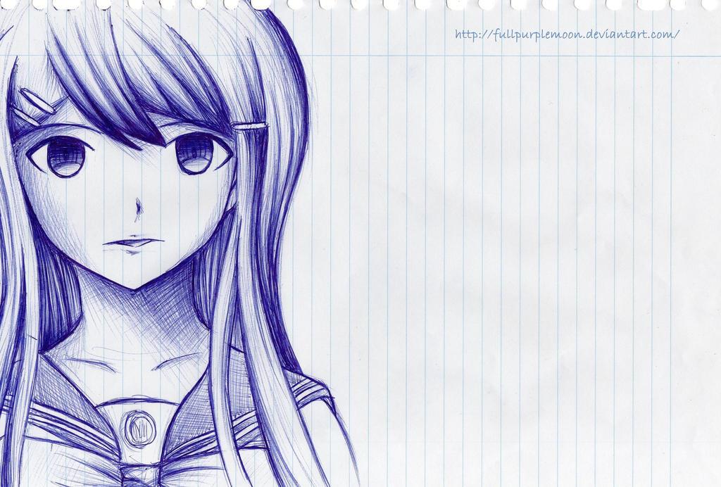 Pen sketch: Sayaka Maizono by FullPurpleMoon