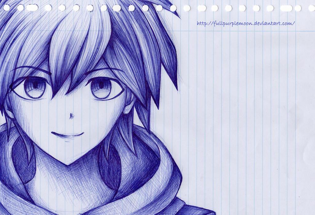 Pen Sketch: Makoto Naegi by FullPurpleMoon