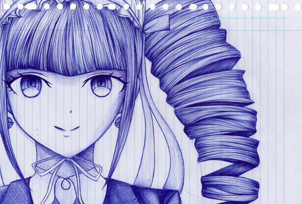 Pen Sketch: Celestia Ludenberg by FullPurpleMoon
