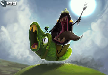 Eggplant riding a pickle!! by Save-The-Dinosaurs