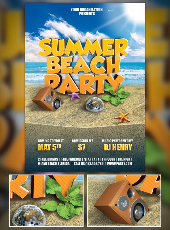 Summer Beach Party Flyer By Henryhu
