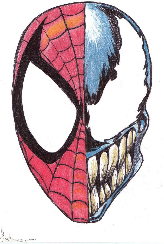 Spiderman Face Line Drawing : Spider man vs venom by reiferson on deviantart