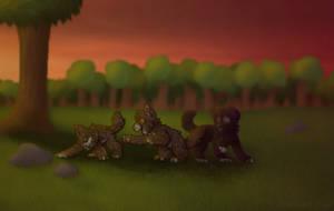 Larkkit, Owlkit, and Ravenkit - Warrior Cats OCs by rosealuck14