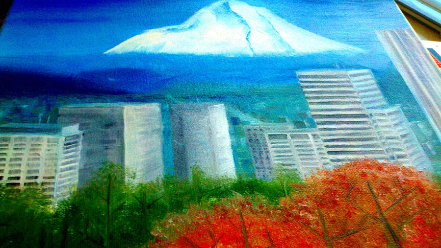 Portland Oregon View Mt Hood Mt Tabor Oil Painting by nandamicole