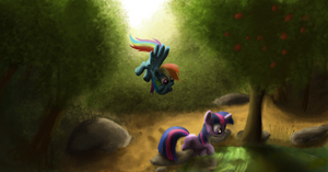 Dash and Twilight at a pond