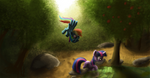 Dash and Twilight at a pond by tuore