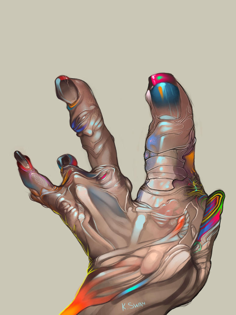 Blind contour hand painting 1 by KimberlySwan