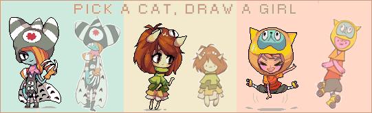 Choose a cat, draw a girl by ichigo-tan