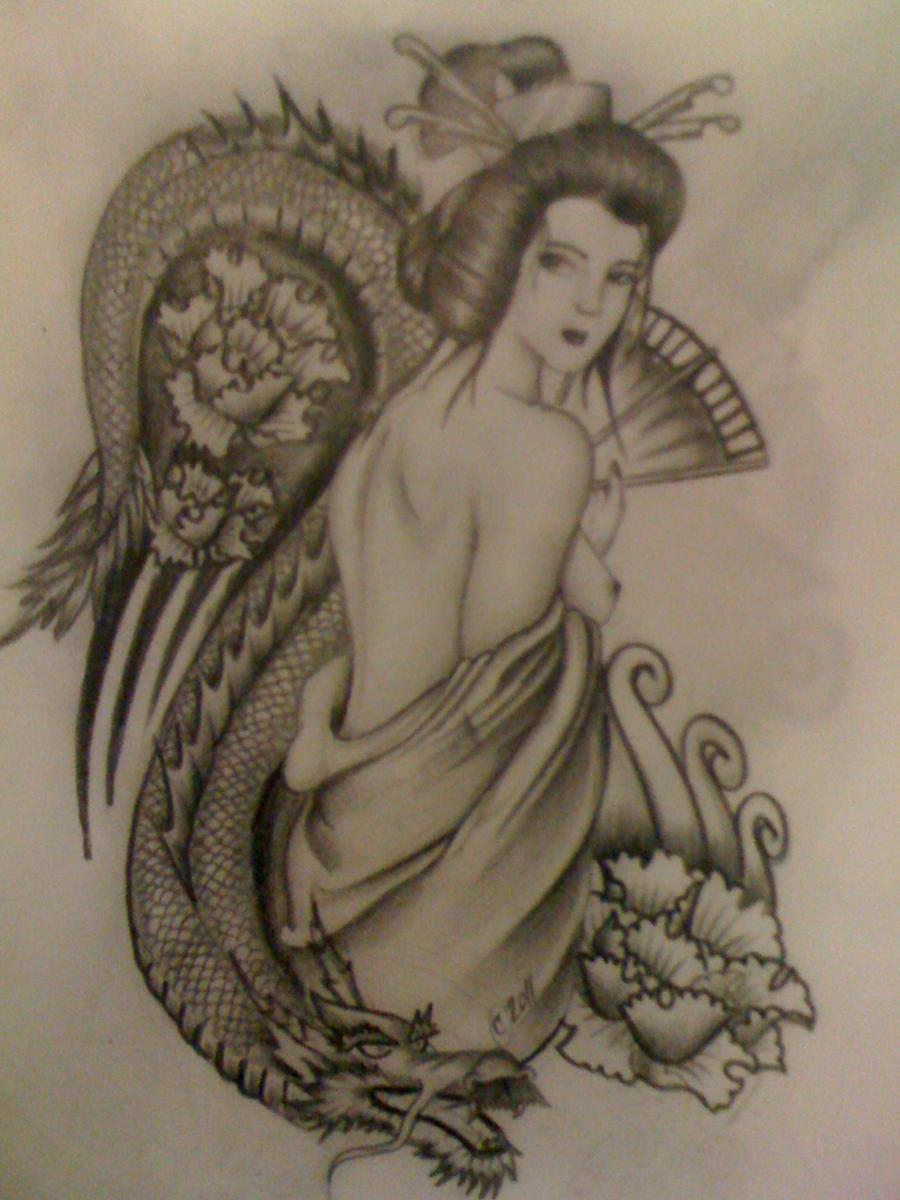 geisha by jesse jay tattoo on deviantart. Black Bedroom Furniture Sets. Home Design Ideas