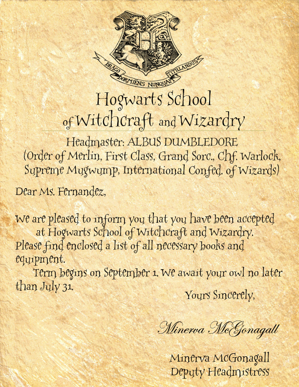 Amazing Hogwarts Acceptance Letter Template Free