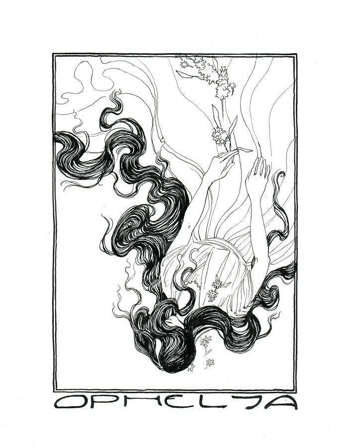 Ophelia Sinking, Sans Colour by cidaq