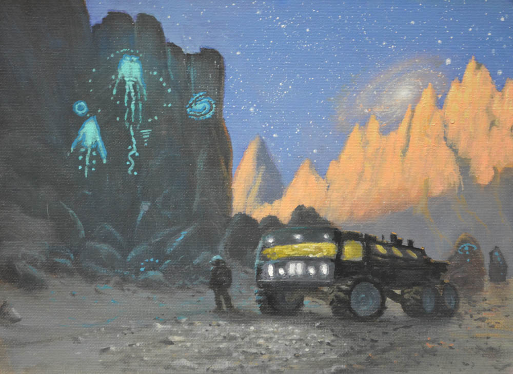 Ancient Astronauts (study) 9x12 Oil by paintmofo