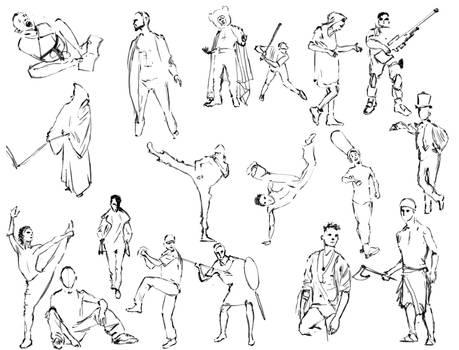 Random poses, quick sketches