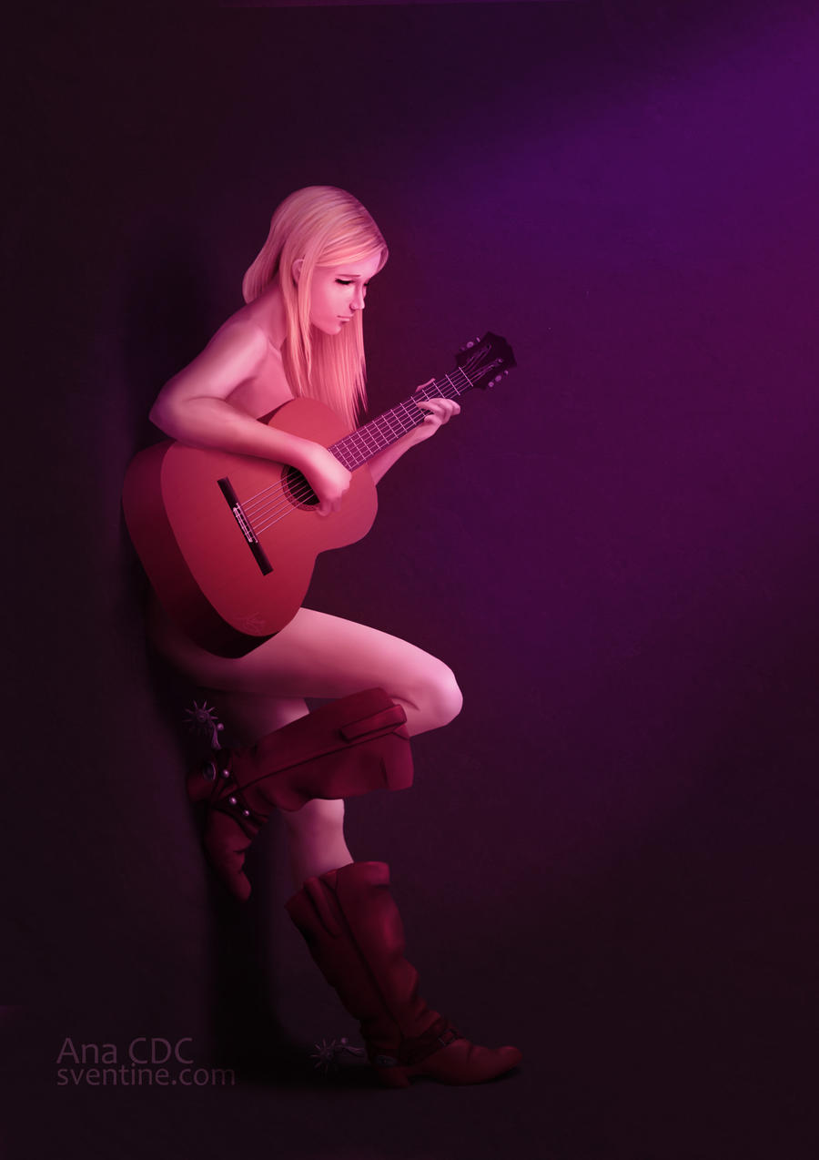 girl, guitar by Sventine