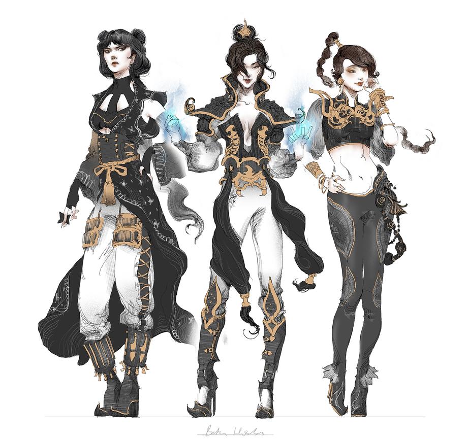 Azula, Mai, Ty Lee by quargon