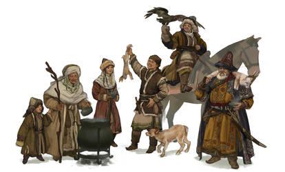 Kazakh villagers by quargon