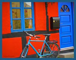 blue bike by burcyna