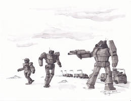 Battletech Fan Art - Convoy Duty by koalabrownie