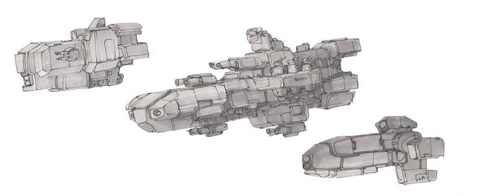 Starships Sketches #5 by koalabrownie