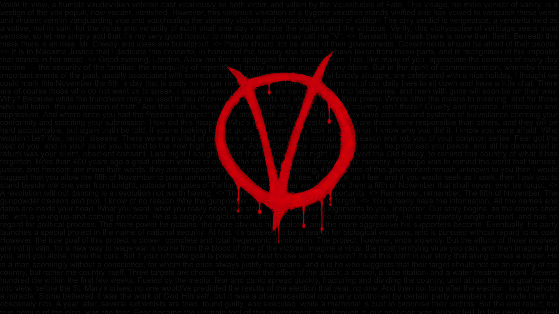 V For Vendetta Quotes HD Wallpaper 1920x1080 By Swagirr