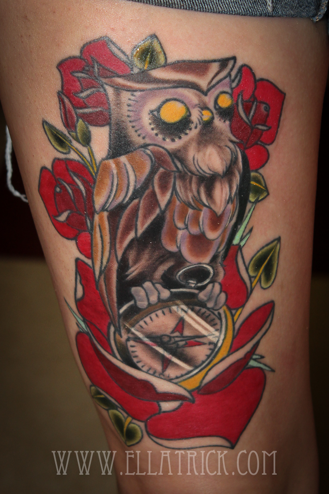owl and compass by mange