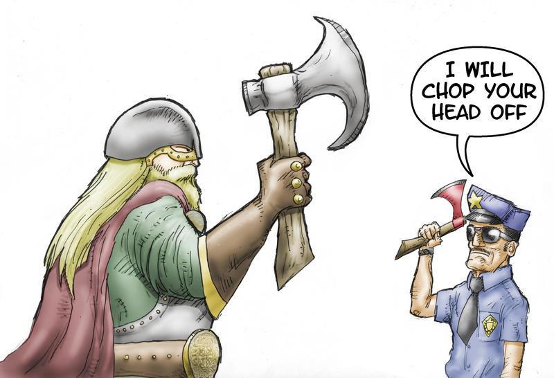 Axe Cop Versus Thor by Metal-Truncator