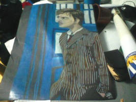 10th Doctor and Tardis color pencil drawing