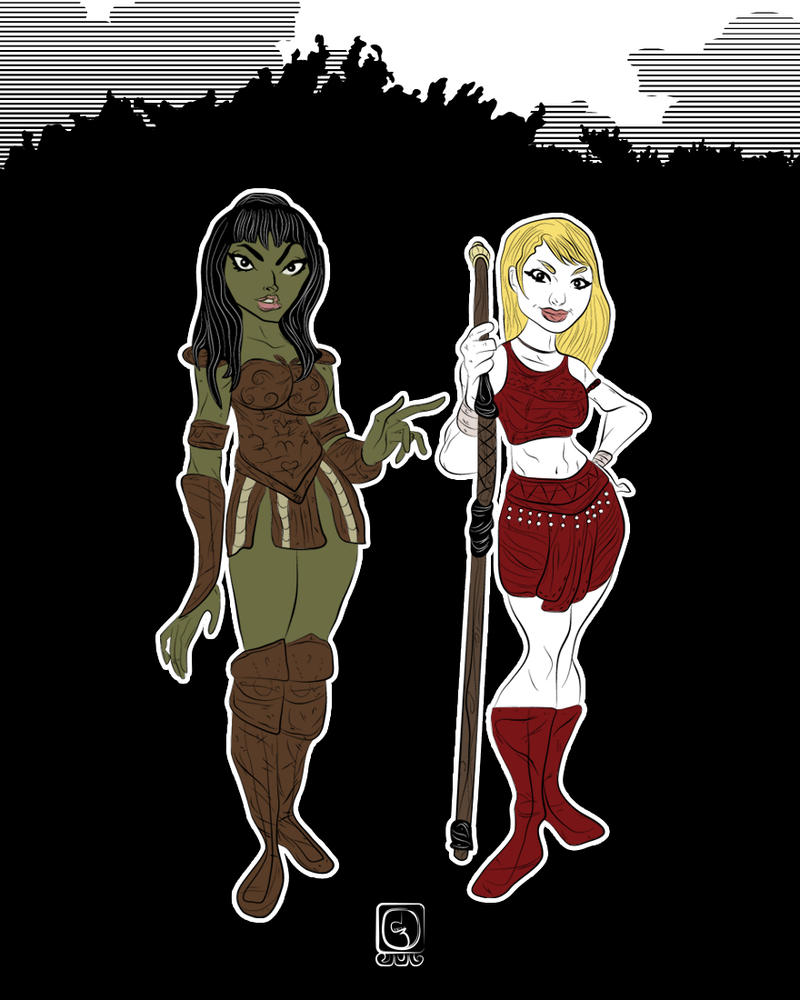 Elphaba and Glinda as Xena and Gabrielle by jackcrowder