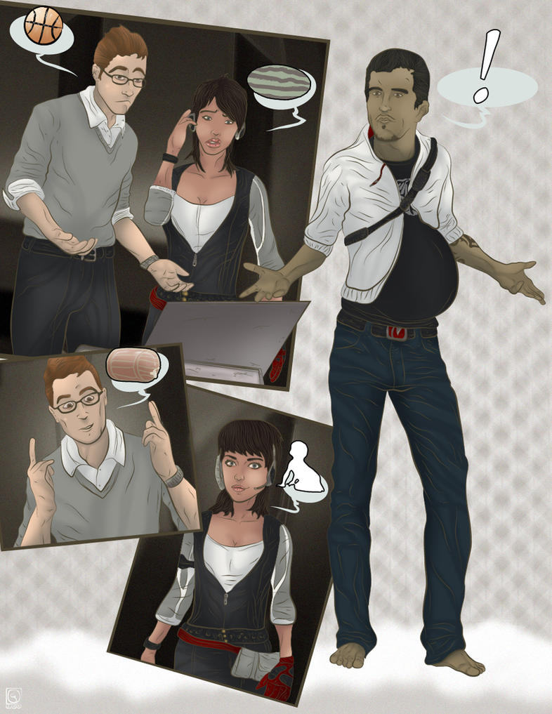 Pregnant Desmond Miles by jackcrowder